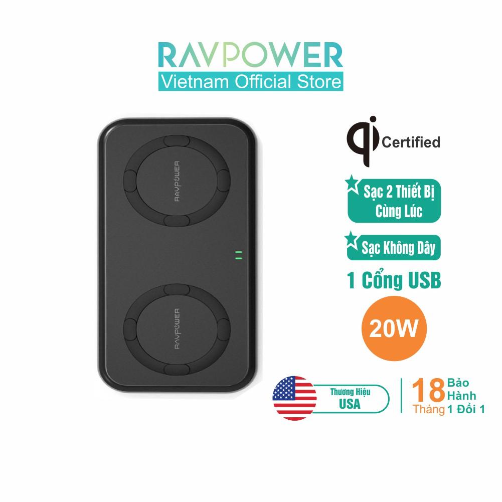 Đế Sạc Không Dây RAVPower 20W Total, Sạc 2 Thiết Bị Cùng Lúc - RP-