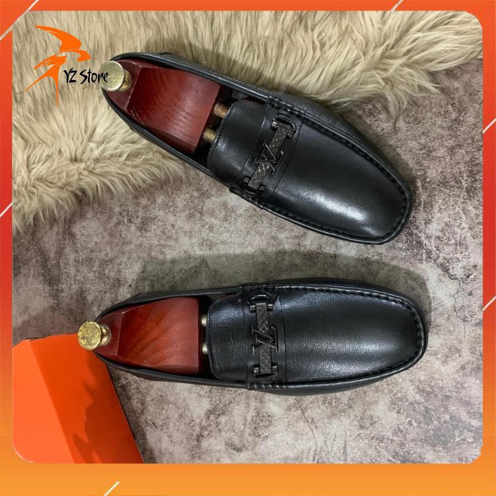[DA THẬT]Giày Nam Da Bò - Giày Lười Da Nam Màu Đen Có Mác(Bảo Hành Da 12 Tháng)