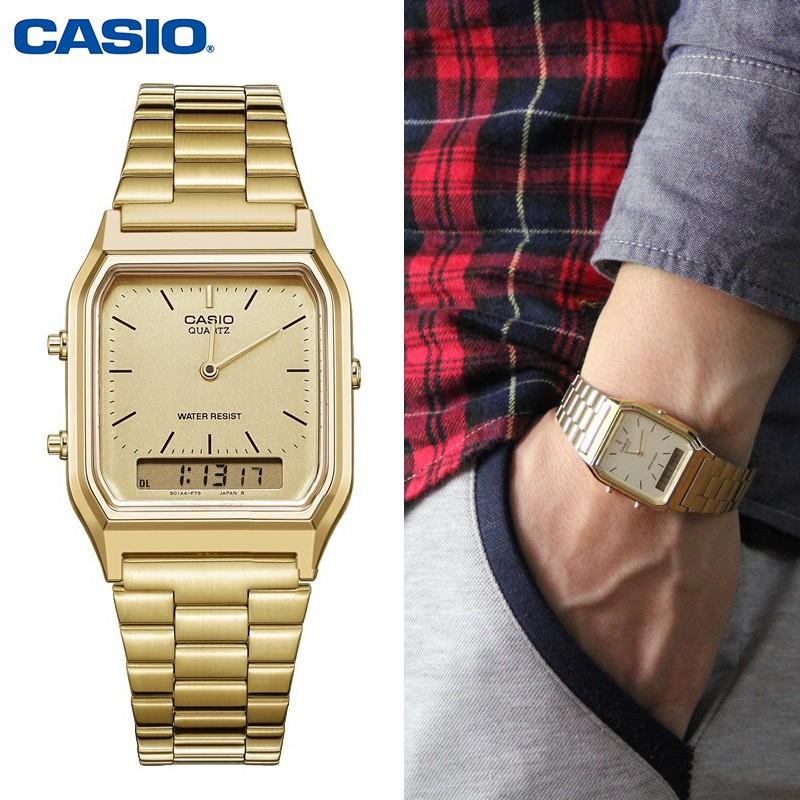 Đồng hồ nam / nữ Casio AQ-230GA-9BMQ Chính hãng - Dây kim loai - Mạ Vàng - Mặt trắng