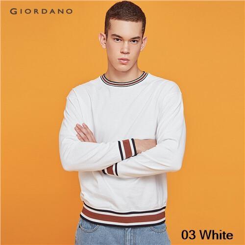 GIORDANO MEN Contrast stripe ribbed crewneck sweatshirt 13029813