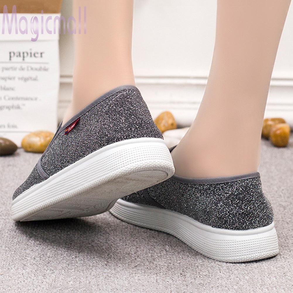 Giày lười phối kim sa lấp lánh theo phong cách hàn quốc dành cho nữ