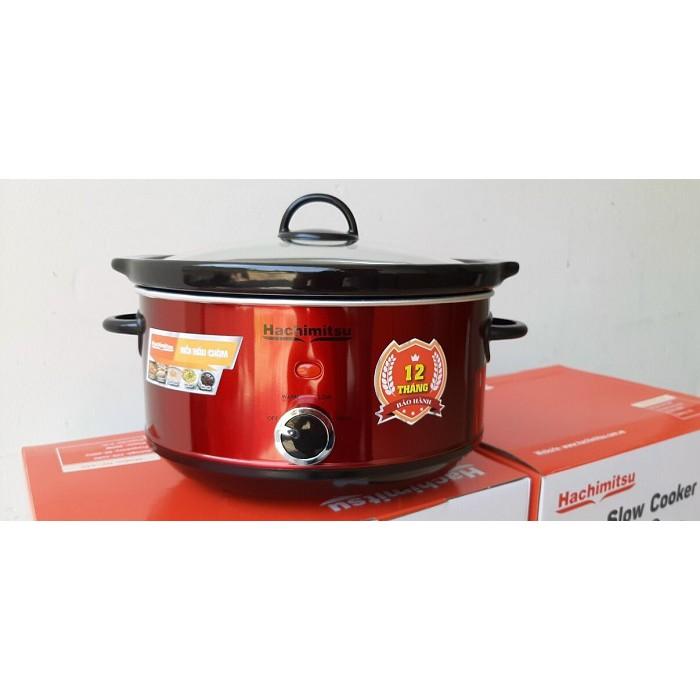 Nồi nấu chậm, kho cá, nấu cháo Hachimitsu HC-435 (3.5L) - Màu sắc: đỏ (như hình) - Điện áp: 220-240V / 50-60Hz - Công su