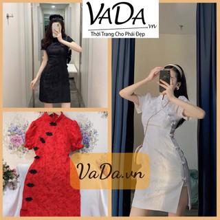Đầm dự tiệc sườn xám chất gấm vân hoa nổi cao cấp quá đẹp, quá sang trọng - Thời trang VADA - Đ59 thumbnail