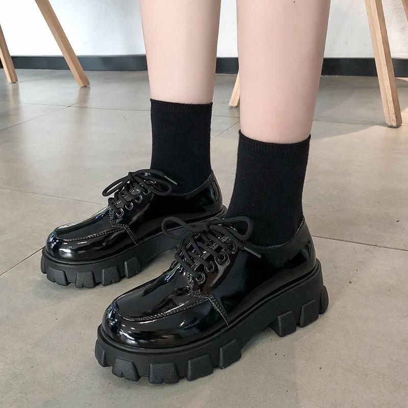 Giày da nữ mũi tròn đế dày thời trang Hàn Quốc