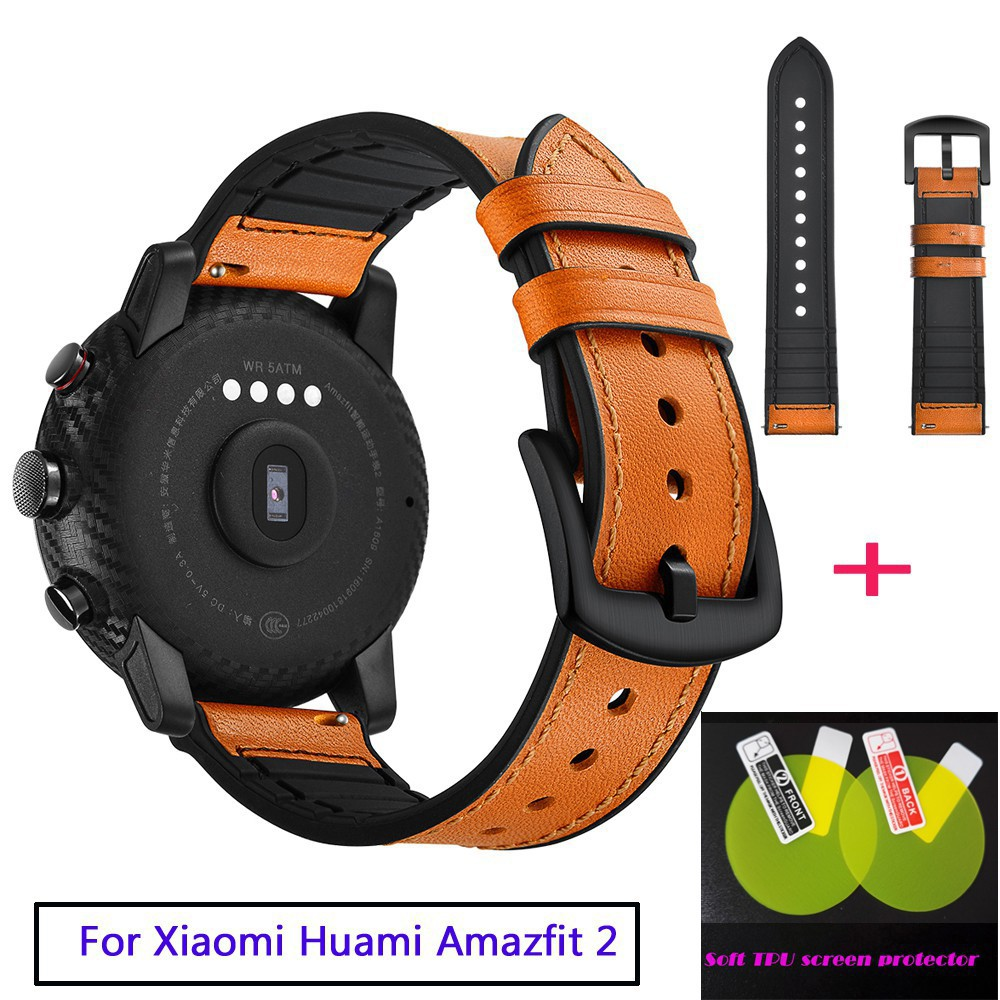 Silicone Leather Watch Strap for Xiaomi Huami Stratos Amazfit 2 Pace wristband