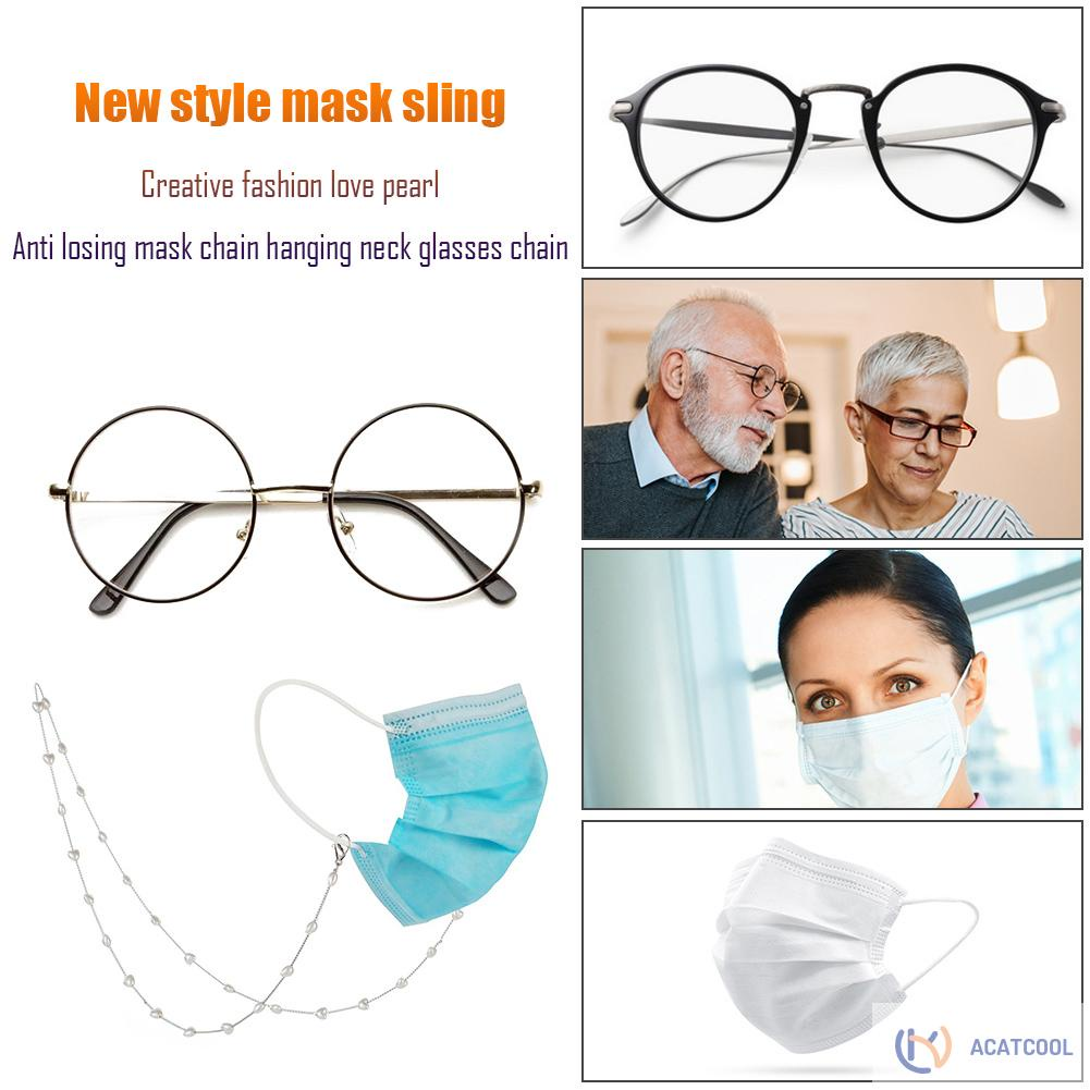 Acatcool Female Pearl Reading Glasses Chain Mask Ear Protective Holder Neck Lanyard