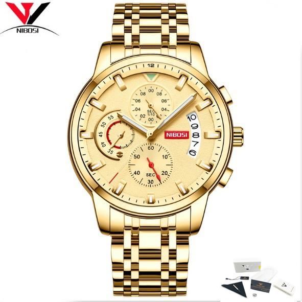 Đồng hồ nam dây thép không gỉ 6 kim fullbox Nibosi 2358 (vàng)