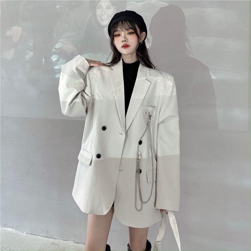 Áo Khoác Vest Mỏng Tay Dài Dáng Rộng Phong Cách Hàn Quốc 2020 Cho Nữ