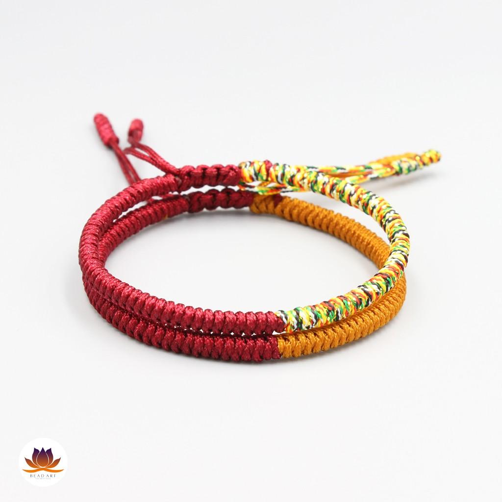 Combo 2 Vòng Tay Dây Ngũ Sắc Thắt Chỉ Màu Tibet Handmade (ĐỎ ĐÔ PHỐI NGŨ SẮC VÀ ĐỎ ĐÔ PHỐI VÀNG CAM