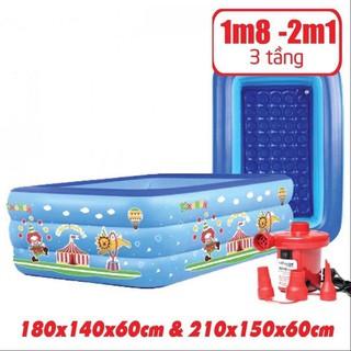 ( Xả Kho Bán Sỉ ) Bể Bơi Phao Cho Bé – 1m8 + 2m1 – 3 Tầng – Có Đáy Chống Trượt ( Giá tri ân khách hàng)