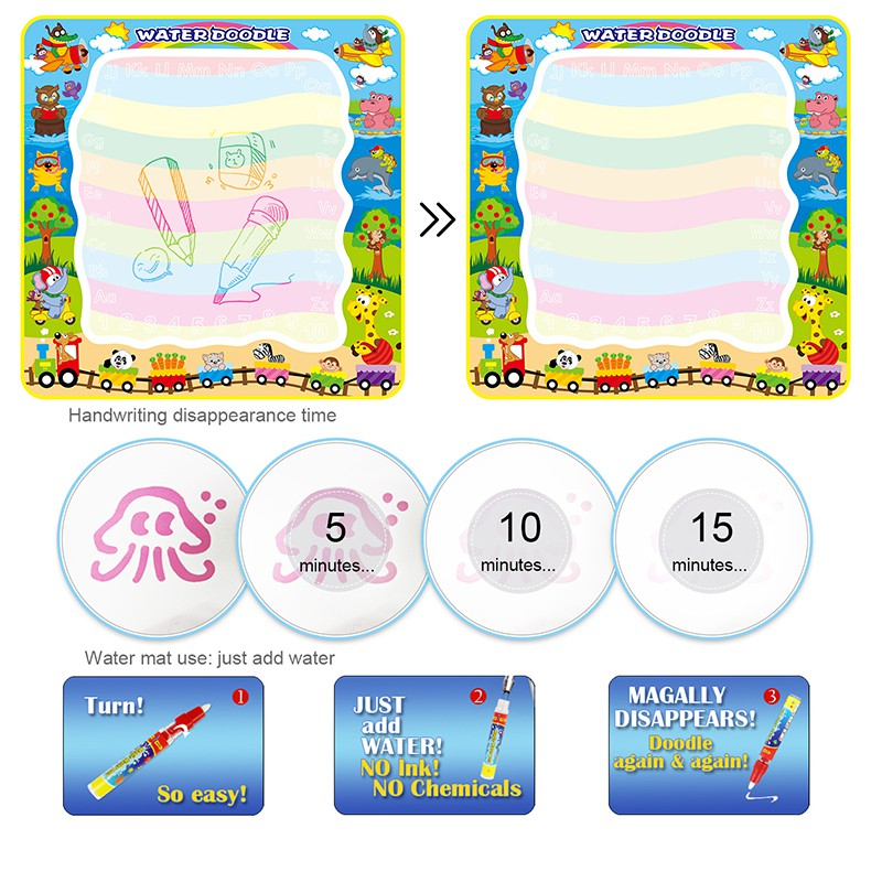 100x100cm Oversized Water Drawing Doodle Mat Toy Children Painting Board Tool Learning Education Toys