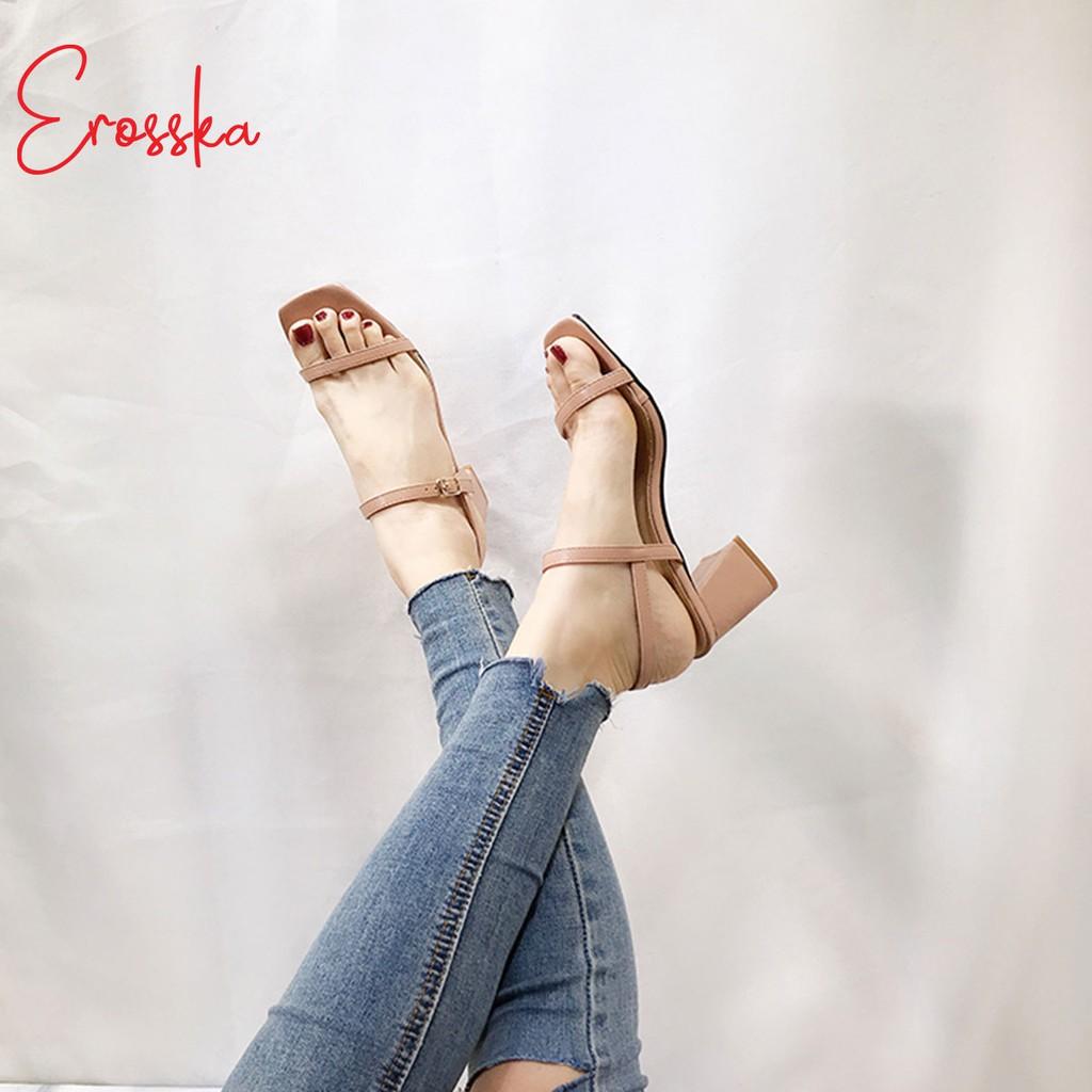 Hình ảnh Giày Sandal Nữ Thời Trang Erosska 5cm Mũi Vuông - EM019 - Màu Nude-3