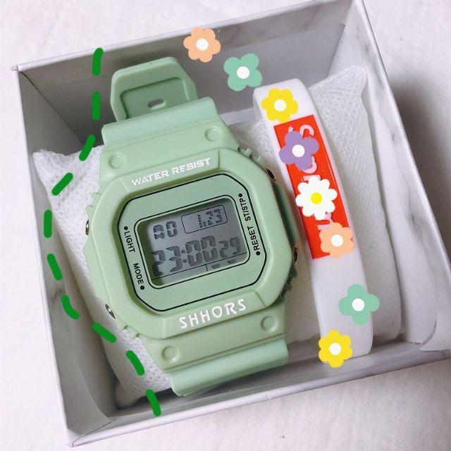 (Tặng thêm pin) Đồng hồ điện tử xanh matcha SPPORS trẻ trung năng động