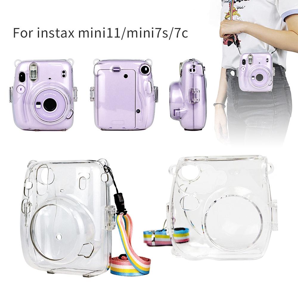 Vỏ Bảo Vệ Máy Ảnh Trong Suốt Fujifilm Instax Mini 8/8+/9 Mini 7s 7c 11 instax 25/26 Instant Kèm Dây Đeo Màu Cầu Vồng