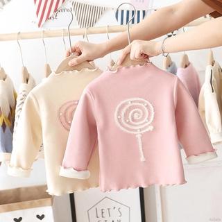 Áo thun bé gái bằng vải lông cừu tay dài dày dặn ấm áp họa tiết cây kẹo mút dễ thương