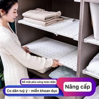 (Co dãn từ 31-122cm) GIá chia ngăn tủ áo tủ bếp, kệ để đồ đa năng, khay xếp quần áo