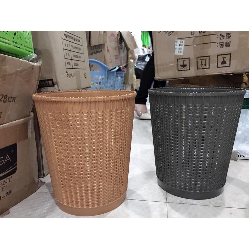 Sọt nhựa đựng quần áo, đồ chơi tiện lợi Thùng rác gia đình nhựa Việt Nhật giả mây
