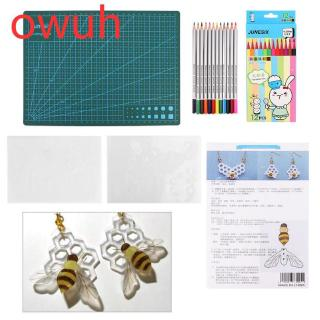 Owuh A4 Cutting Board & Honeybee Shrink Sheet Set DIY Handmade Tools Jewelry Accessories