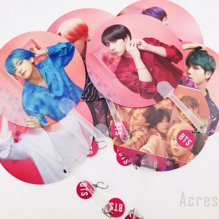 acres Ready Stock] BTS COD 18x18cm Size Motif Hand Fan
