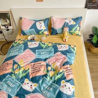 Bộ chăn ga gối cotton poly – Mẫu mèo xanh cute