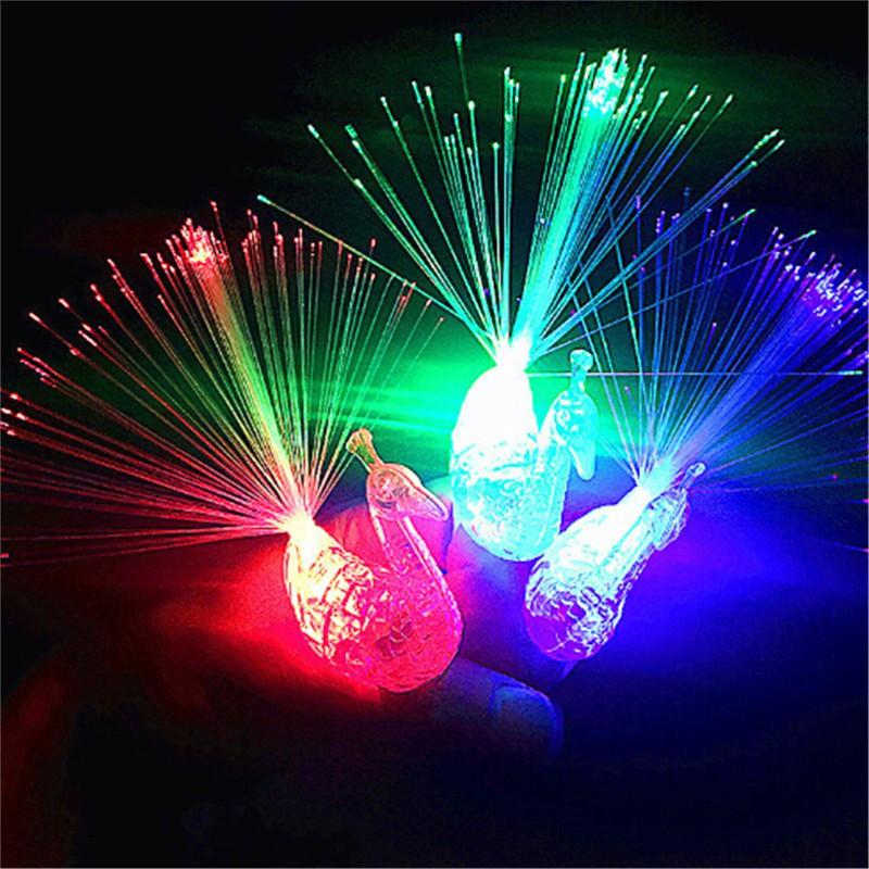$VN Novelty Creative LED Flash Peacock Finger Lights Kids Luminous Rings Gift Toys ZNS 1126