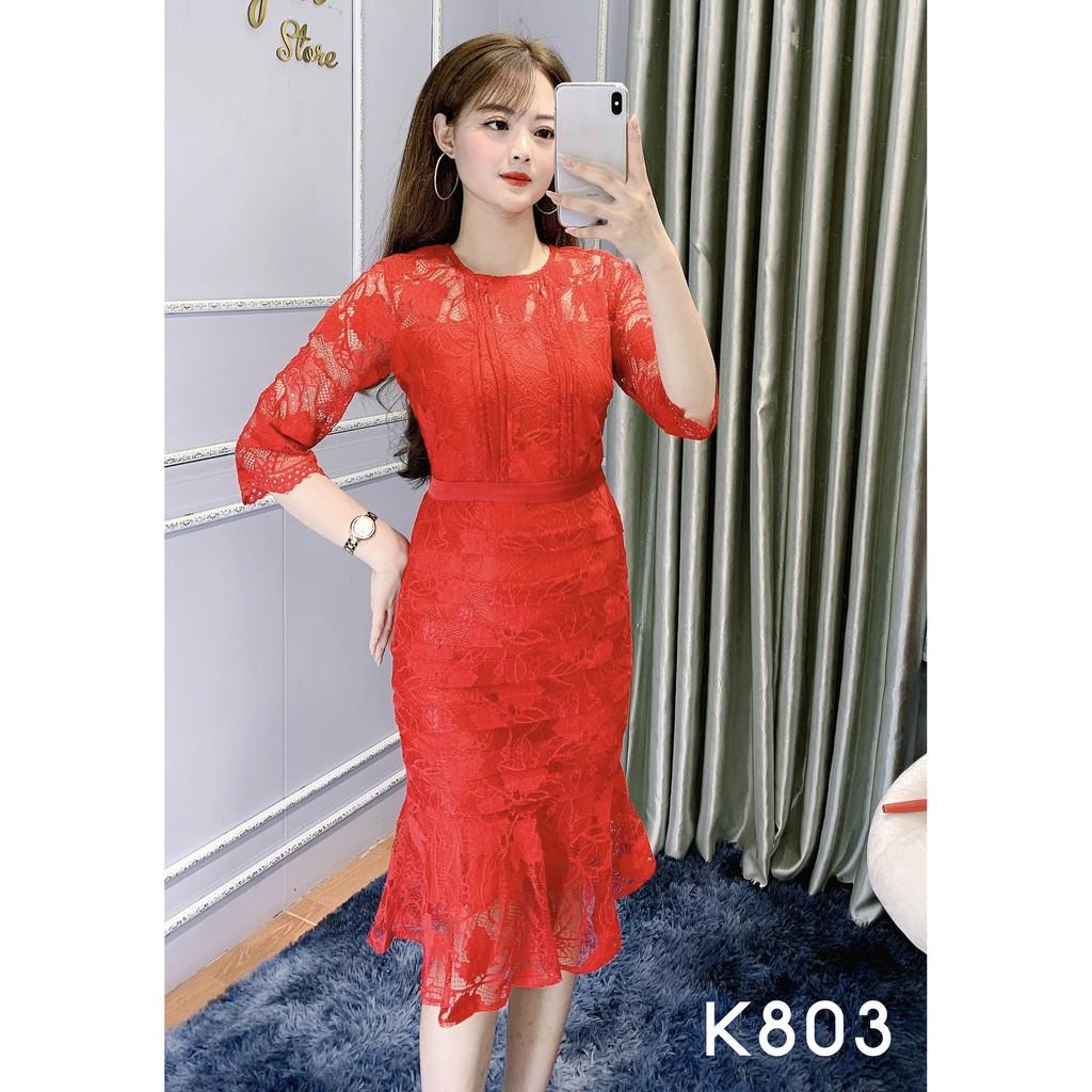Đầm Công Sở Ren Đuôi Cá Dáng Ôm Body - She Loves K803 Màu Đỏ