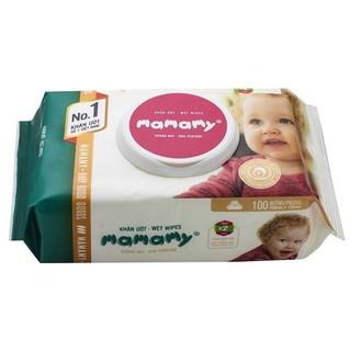 (Có mã quét QR) Khăn ướt Mamamy 100 tờ( Mẫu mới) có nắp, không mùi và có mùi