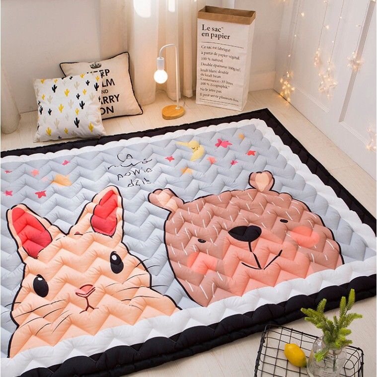 Thảm Creeping Mat Korea cao cấp hình Gấu Thỏ trần Ziczac