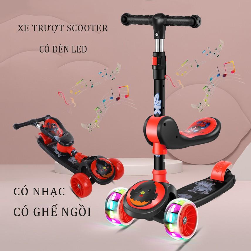 Xe Trượt Heo pepa, Xe chân Scooter có nhạc có đèn led 3 Trong 1, Bánh Phát Sáng Cho Bé Từ 3 – 8 Tuổi