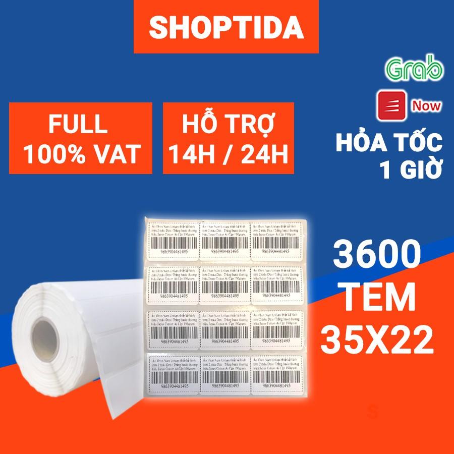 Tem in nhiệt Shoptida loại 3600 tem 35 22mm in minicode, barcode, 3 tem 1 hàng, sử dụng cho máy in nhiệt Shoptida SP4 thumbnail