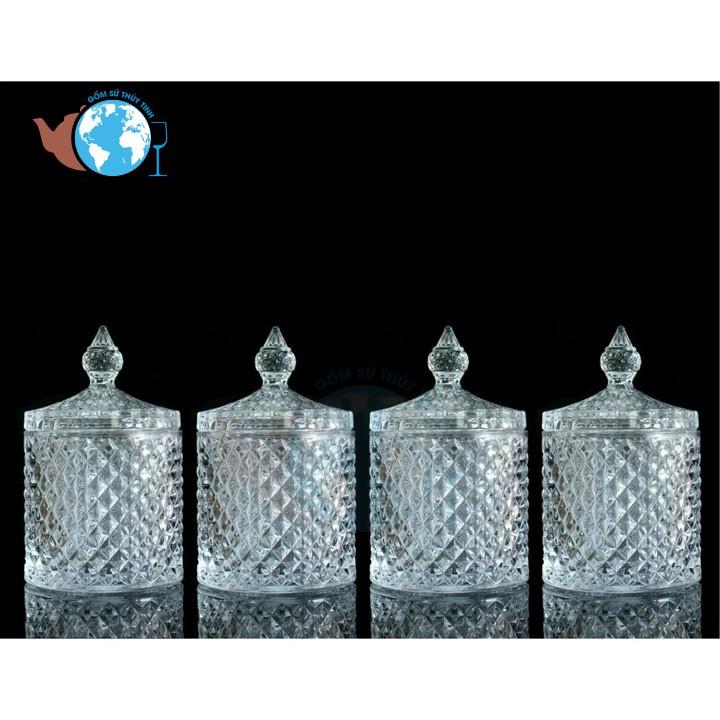 TẾT-COMBO 4 Thố mứt pha lê họa tiết kim cương DELI DSTG1030-3.5