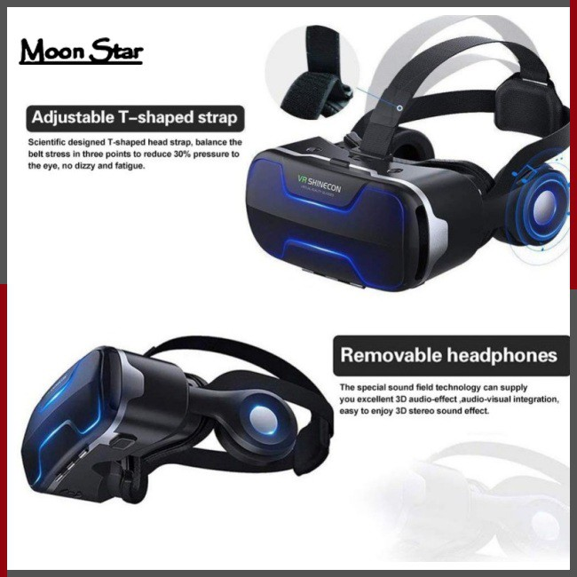 MoonStar VR Shinecon G02ED 3D VR Glasses Helmet Glass Virtual Reality Headset Panoramic for 4.7-6.0 inch Phone Smartphone
