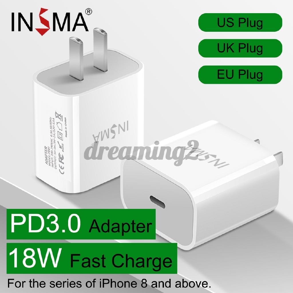 Củ sạc nhanh insma 18w usb type c pd3.0 chuyên dụng cho iphone apple
