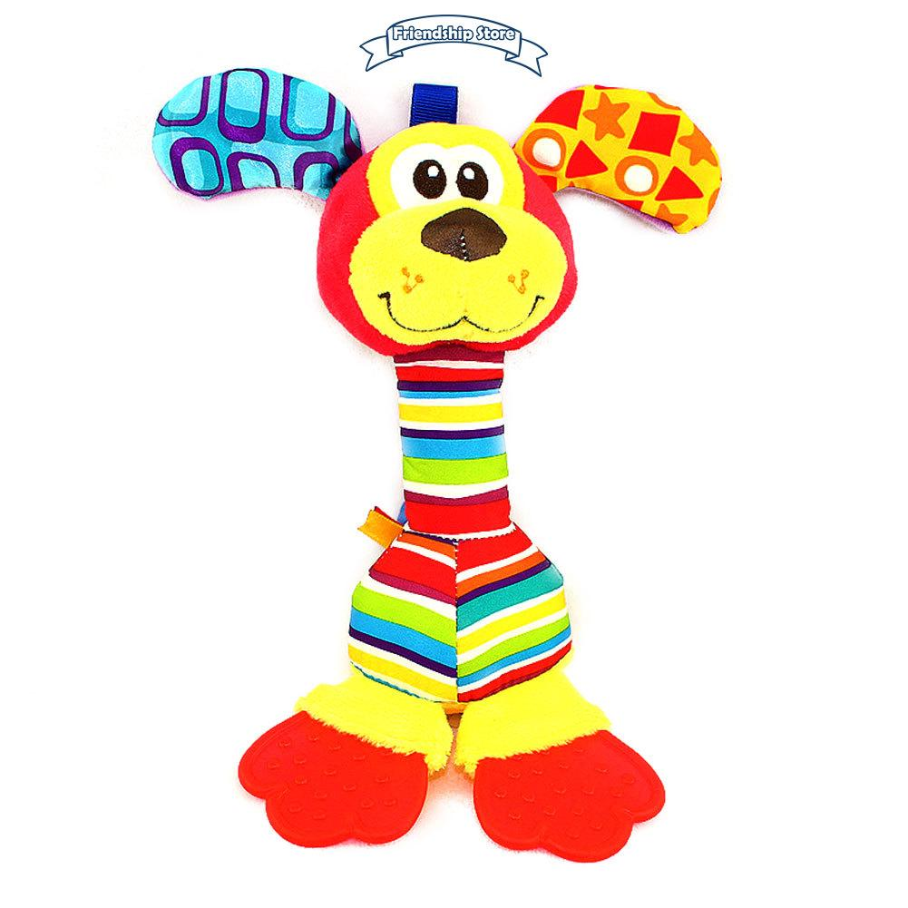 ◇FS Fashion Children Plush Toys Colorful Animal Shape Lovely Appease Dolls Rattles Grasping Toy For 0-3 Years Baby Kids