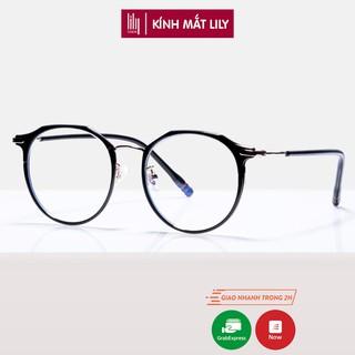 Gọng kính cận nữ Lilyeyewear kim loại, mắt tròn có thể đeo đi đường chống bụi, nhiều màu sắc lựa chọn - 2256