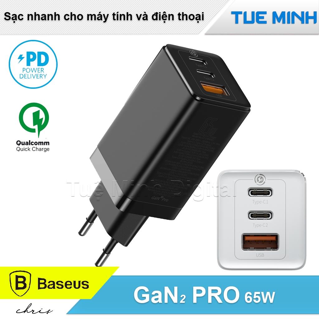 Bộ sạc nhanh đa năng Baseus GaN2 PRO Travel Quick Charger 65W dùng cho Laptop và điện thoại