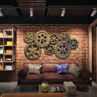 Phong cách công nghiệp cổ điển loft tường trang trí bánh răng kết hợp tường quán bar cà phê Internet nhà hàng Treo Tường thumbnail
