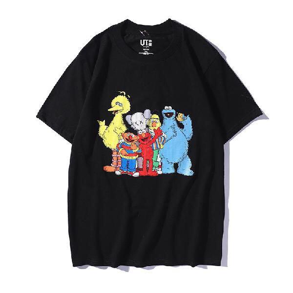 Áo thun tay ngắn dáng rộng in hoạt hình sesame street dễ thương cho nam/nữ