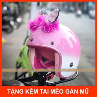 COMBO mũ bảo hiểm 3 4 màu hồng loang trắng kèm tai mèo, tai thỏ gắn nón bảo hiểm Thái Lan siêu dễ thương thumbnail