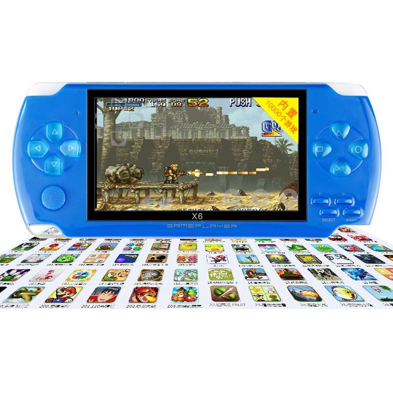 Máy chơi game cầm tay 4 nút X6 màn hình 4.3 inch chơi được game thùng/NES/SNES/GBC/GBA/SMC tích hợp sẵn 10000 trò