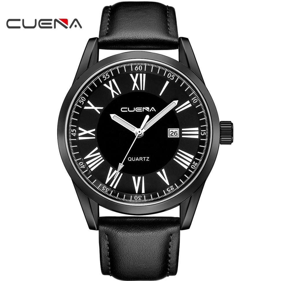 (CHUẨN MEN) Đồng hồ nam CUENA CU887doanh nhân2020 viền thép lịch lãm dây da PU cao cấp