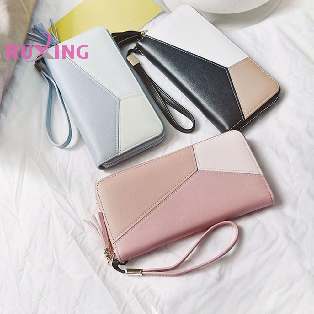 Fashion Women Long Wallet Clutch Purse Tassel PU Zip Phone Card Holder Bag