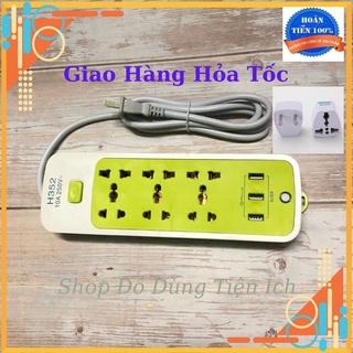 Ổ Cắm Điện Đa Năng Chống Giật 6 Ổ Cắm và 3 Cổng USB Màu Xanh Tiện Dụng Cho Gia Đình, An Toàn Khi Sử Dụng