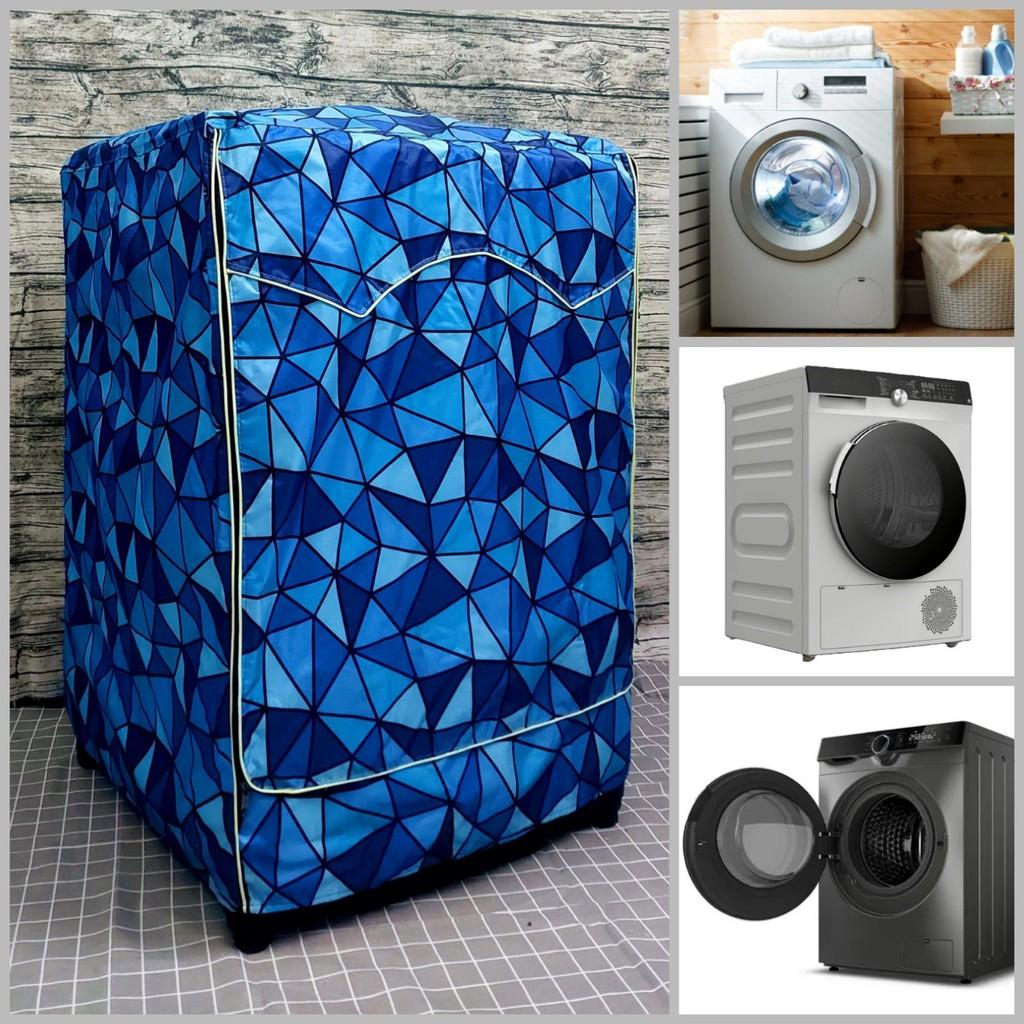 Áo trùm máy giặt cửa ngang 7kg - 11kg vải dù bạt chống thấm, chống nắng  siêu bền (mẫu tam giác xanh dương như hình) giảm tiếp 175,000đ