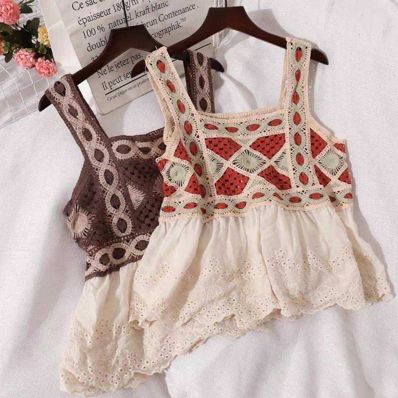 Áo 2 dây dáng croptop hoạ tiết thổ cẩm, áo boho đi biển dễ thương-shopbelinh