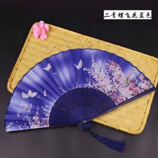 Portable silk + pendant folding fan, multi-color flower spray bamboo folding fan, party gift folding fan