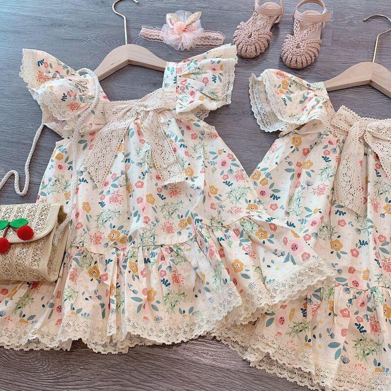 Váy Nơ Ren Hoa Hè Xinh Cho Bé Gái