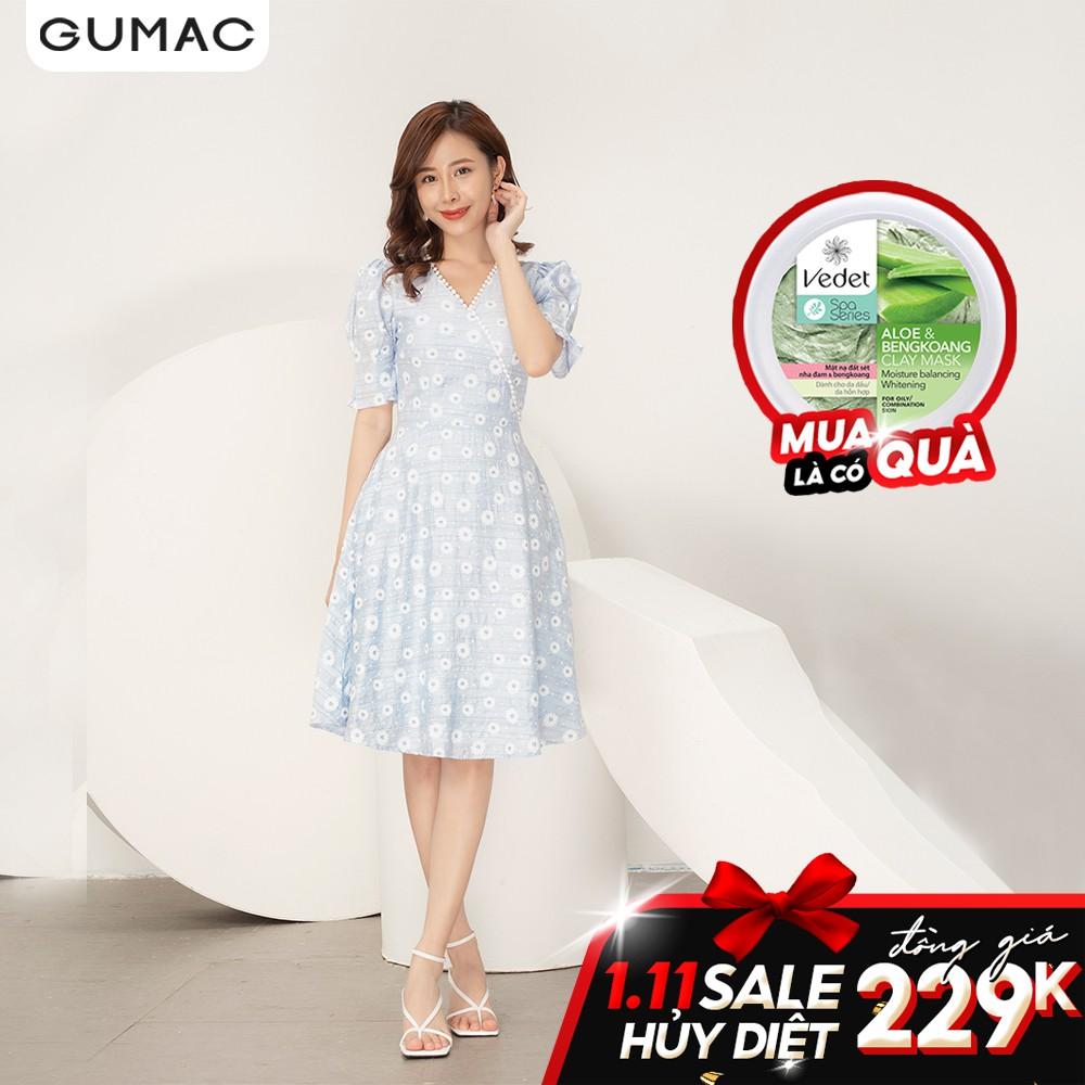 Đầm hoa phối cổ trắng GUMAC DA9103