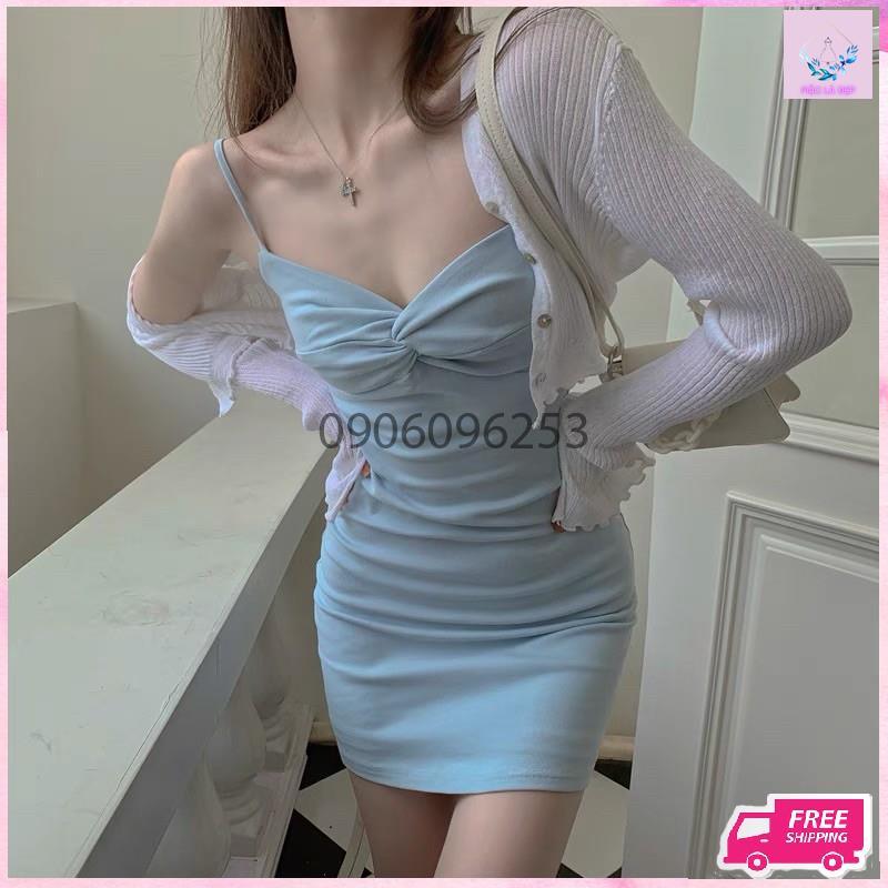 váy 2 dây nữ xoắn ngực và áo khoác ngoài hàng quảng châu loại 1