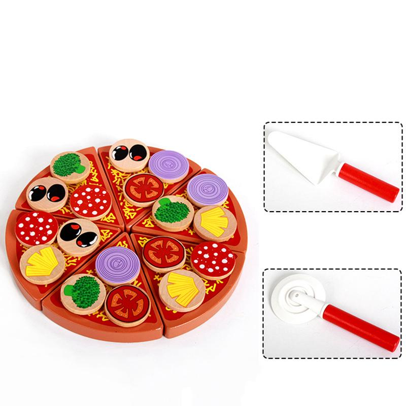 Wooden Pizza Play Food Set Wooden Toy Kids Pretend Kitchen Childrens Cooking